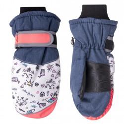 Granatowe rękawiczki nieprzemakalne 1P z jednorożcami