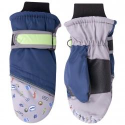 Granatowo-szare rękawiczki nieprzemakalne chłopięce 1P