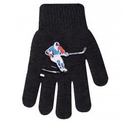 Zimowe rękawiczki chłopięce wełniane z ABS 5P hokeistaGrafit