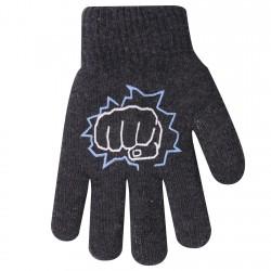 Zimowe rękawiczki chłopięce wełniane z ABS 5P pięśćGrafit