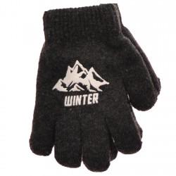 Zimowe rękawiczki chłopięce wełniane z ABS 5P winterGrafit