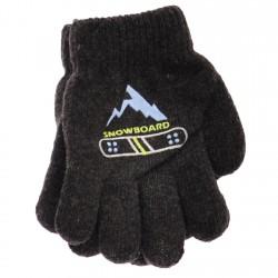 Zimowe rękawiczki chłopięce wełniane z ABS 5P snowboardGrafit