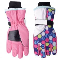 Nieprzemakalne rękawiczki narciarskie 5P 24cm z różem