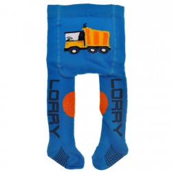 RAJSTOPY frotte do RACZKOWANIA niebieskie z ciężarówką POTRÓJNY ABS! wzór 154