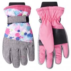 Nieprzemakalne rękawiczki narciarskie 5P 22cm szary z różem