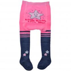 RAJSTOPY bawełniane różowo-granatowe brokatowa gwiazdka wzór 547
