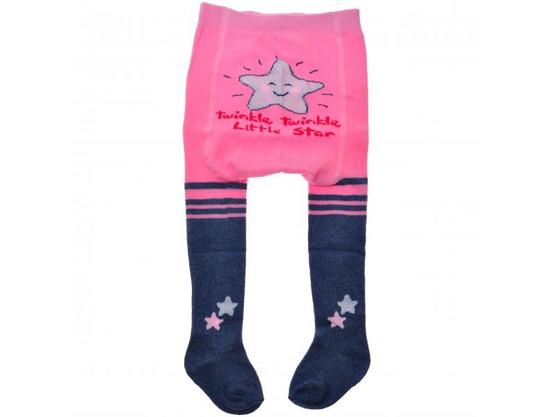 RAJSTOPY bawełniane różowe brokatowa gwiazdka wzór 546