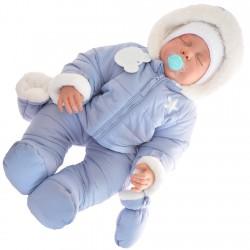 Niebieski KOMBINEZON pikowany na futerku ZIMA