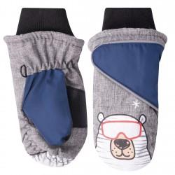 Szare rękawiczki nieprzemakalne chłopięce BIAŁY MIŚ 1P