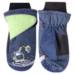 Granatowe rękawiczki nieprzemakalne chłopięce KOPARKA 1P
