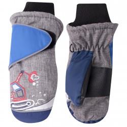 Szare rękawiczki nieprzemakalne chłopięce KOPARKA 1P