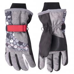 Szare rękawiczki narciarskie nieprzemakalne 5P 22cm czerwony rzep