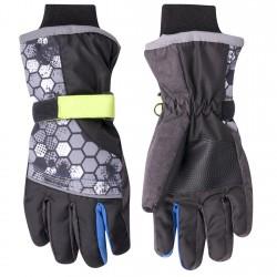 Czarne rękawiczki narciarskie nieprzemakalne 5P 22cm neonowy rzep