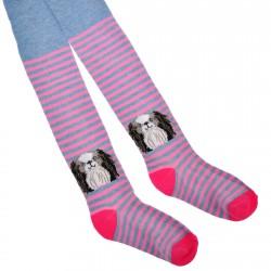 RAJSTOPY bawełniane niebiesko-różowe z pieskiem wzór 581