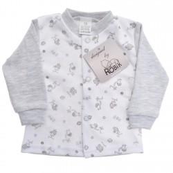 Szaro-biały KAFTANIK w zwierzątka koszulka bawełniana wzór 185S