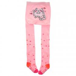RAJSTOPY bawełniane różowe z kotkiem wzór 571