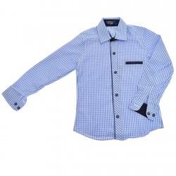Niebieska koszula chłopięca w kratkę długi rękaw r.110-134 elegancka