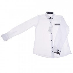 Biała koszula chłopięca czarne dodatki długi rękaw r.110-134 elegancka