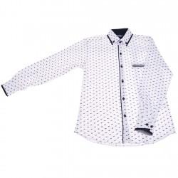 Biała koszula chłopięca w czarne błyskawice długi rękaw r.140-164 elegancka