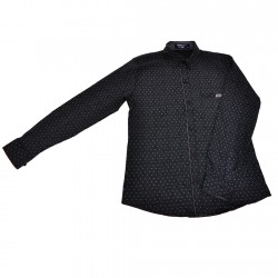 Czarna koszula chłopięca w białe wzorki długi rękaw r.140-164 elegancka