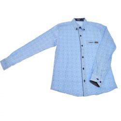 Niebieska koszula chłopięca we wzorki długi rękaw r.140-164 elegancka