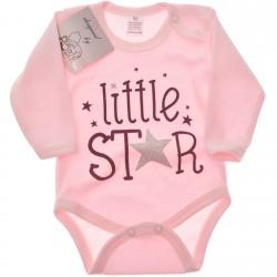 Różowe BODY LITTLE STAR długi rękaw r.56 -110 brokat wzór 601
