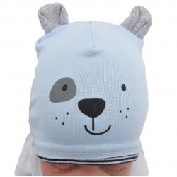 Błękitna czapka MIŚ z uszkami wiosna jesień 68 74