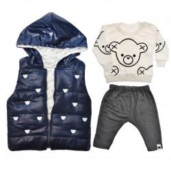Granatowy bezrękawnik z bluzką i spodniami r. 6-18msc