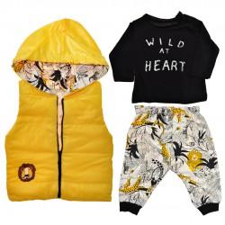 Żółty bezrękawnik z bluzką i spodniami r. 6-18msc