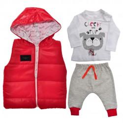 Czerwony bezrękawnik z bluzką i spodniami r. 6-18msc