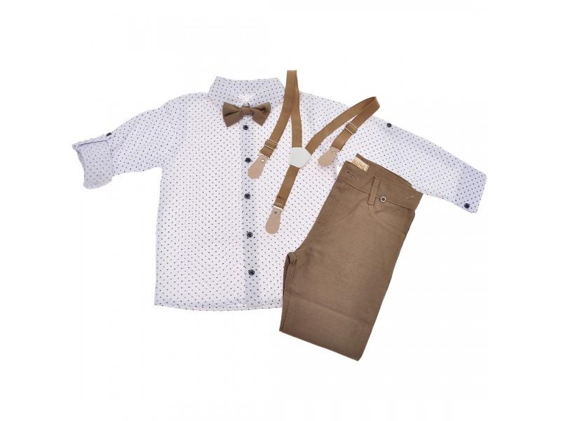 KOMPLET DLA CHŁOPCA  biała koszula, spodnie, muszka, szelki WIZYTOWY wzór: śnieżki, brąz ciemny