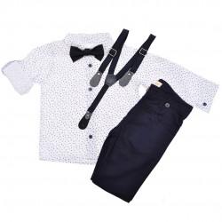 KOMPLET DLA CHŁOPCA  biała koszula, spodnie, muszka, szelki WIZYTOWY wzór: łezki, granat