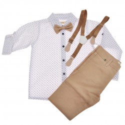 KOMPLET DLA CHŁOPCA  biała koszula, spodnie, muszka, szelki WIZYTOWY wzór: śnieżki, brąz jasny