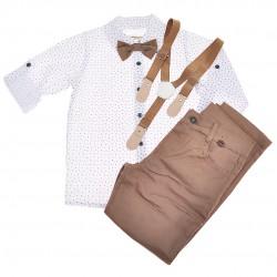 KOMPLET DLA CHŁOPCA  biała koszula, spodnie, muszka, szelki WIZYTOWY wzór: wzorki, brązowy
