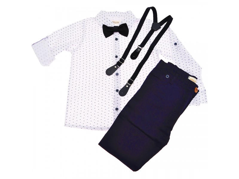 KOMPLET DLA CHŁOPCA biała koszula, spodnie, muszka, szelki WIZYTOWY wzór: mewy, granat