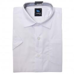 Biała gładka koszula chłopięca z krótkim rękawem r.122-168 elegancka na lato