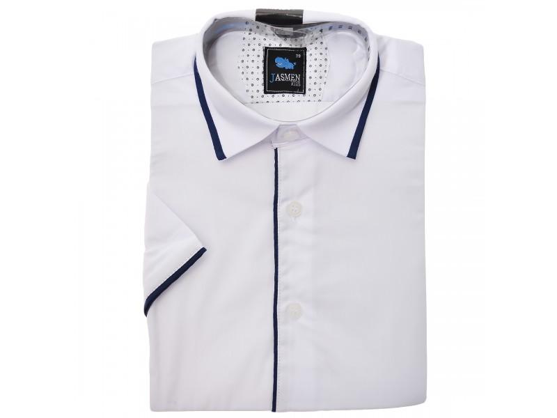 Biała koszula chłopięca granatowe obszycia krótki rękaw elegancka na lato