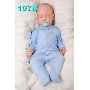 Pajac pajacyk bawełniany niebieski w kokardki r.56-104 BROKAT wzór 197N