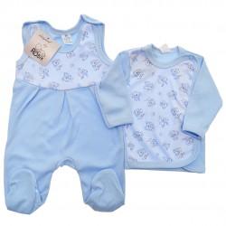 Niebieska WYPRAWKA dla noworodka w misie koala koszulka + śpiochy 2cz. r.56-62 wzór 195N