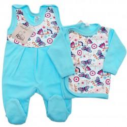 Lazurowa WYPRAWKA dla noworodka w motyle koszulka + śpiochy 2cz. r.56-62 wzór 345L