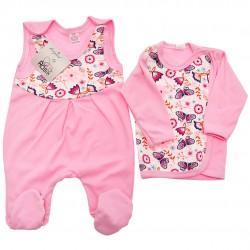 Różowa WYPRAWKA dla noworodka w motyle koszulka + śpiochy 2cz. wzór 345R