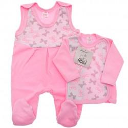 Różowa WYPRAWKA dla noworodka w kokardki koszulka + śpiochy 2cz. wzór 344R