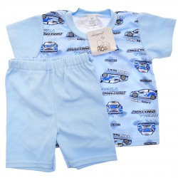 Niebieska PIŻAMA w auta piżamka krótki rękaw