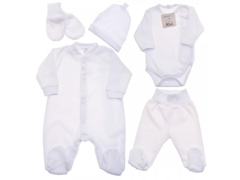 Biała WYPRAWKA dla noworodka do szpitala 5 części