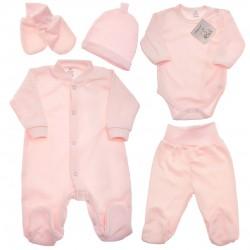 Różowa WYPRAWKA dla noworodka do szpitala 5 części