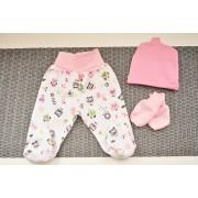 WYPRAWKA dla noworodka do szpitala 5 części różowa w sowy wzór 294R