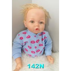 Niebieski KAFTANIK w usta koszulka bawełniana wzór 142N