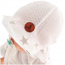 Biały KAPELUSZ PIOTR gwiazdki czapka przeciw poceniu LATO CHRZEST