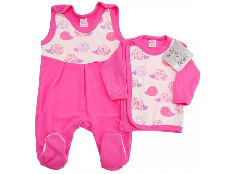 AmarantowaWYPRAWKA dla noworodka w jeże koszulka + śpiochy 2cz. wzór jeżeA