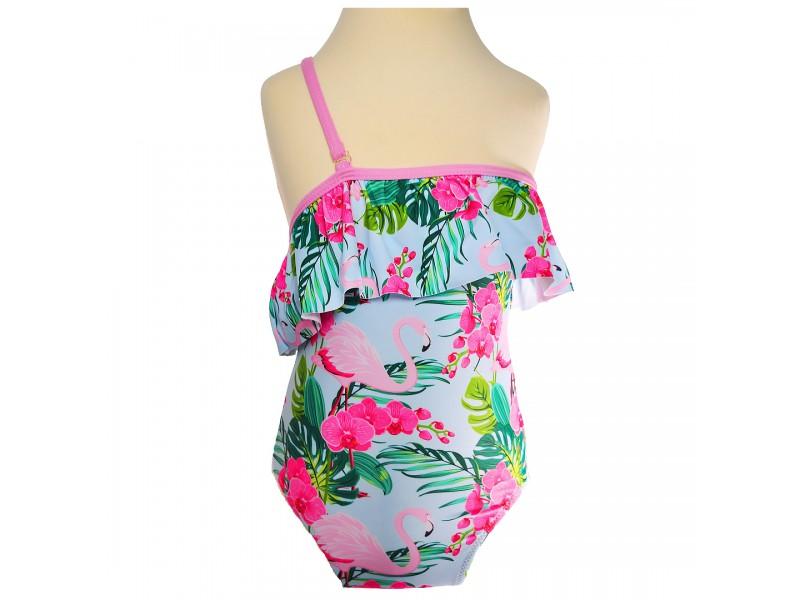 Kostium plażowy jednoczęściowy w flamingi, strój basen